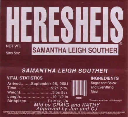 Samantha Souther – Hershey Bar Birth Announcements